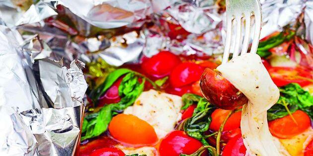 Rökt mozzarella med varma örtiga tomater
