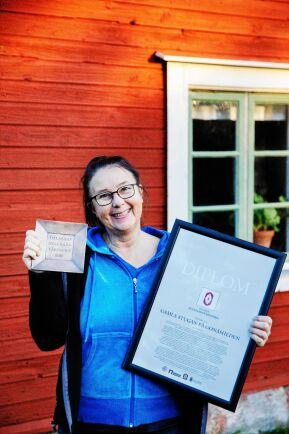 Maria har fått två byggnadsvårdspriser för renoveringen av Dan Anderssons stuga.