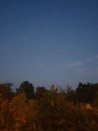 Utanför Landskrona fångade Anki Callmer blodmånen precis ovanför träden. Den vita pricken är ISS rymdsond.