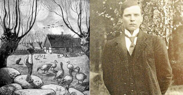 Nils Hogersson for till Amerika med ett gäng äventyrare från Värmland 1922. Den lilla gåsapågen till vänster är illustrerad av John Bauer.…