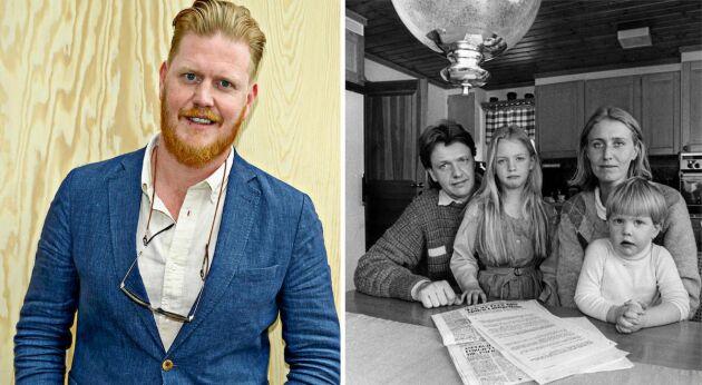 Oscar Magnusson för pappa Sven-Eriks arv vidare. På bilden till höger, från 1983, är han bara 3 år. Med på bilden är även mamma Eva och storasyster Johanna.