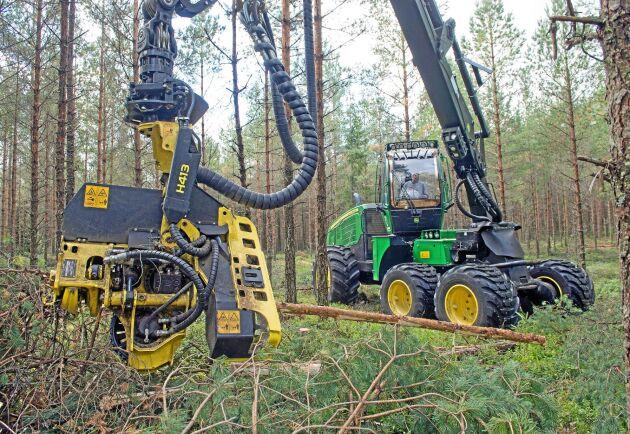 I vår startar skogsmaskinförar-utbildning på komvux, utan krav på förkunskaper. Här pågår praktisk utbildning i skogen.