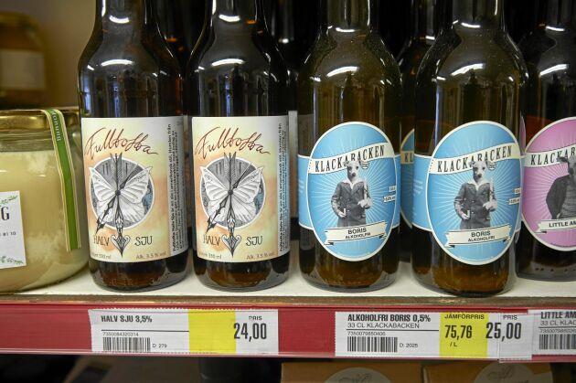Superlokal öl från Fulltofta Gårdsbryggeri. Även butikens mjölk och grönsaker kommer från lokala producenter.