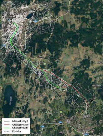 Bilden visar en översiktskarta med förslag på hur Roslagsbanan skulle kunna dras till Arlanda.