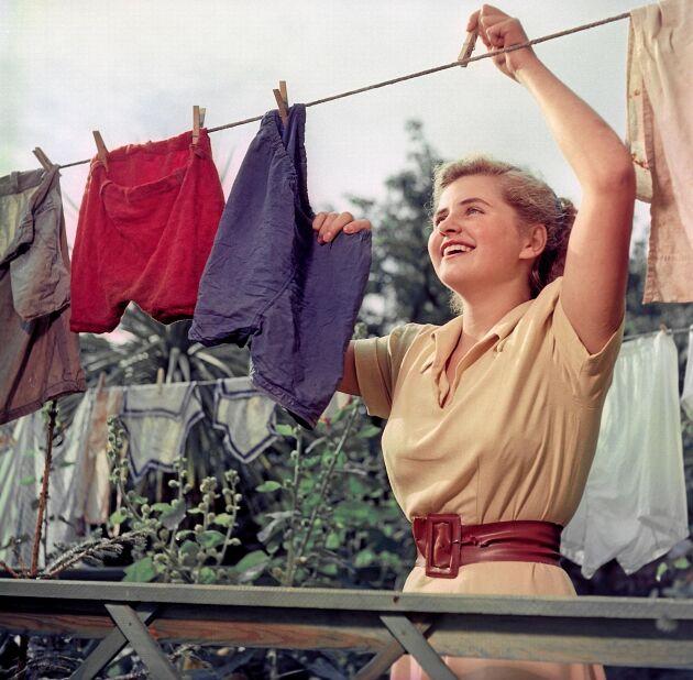 Solblekt tvättlycka på 1950-talet.