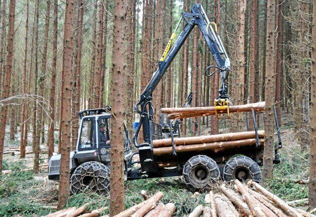 Skotaren 560F sålde bäst ifjol. Här lastar Christofer Sköld på Arnoldssons skogstjänst.