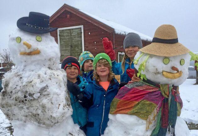 Barnen Abbe Olsén, Malte Lindblom, Leon Thorsson och Matilda Lindblom byggde snögubbar på Fridbacka gård i Torvalla by.