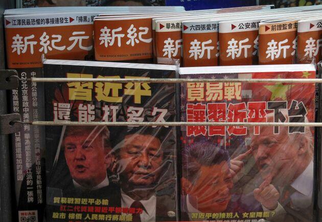 Kinas president Xi Jinping och USA:s president Donald Trump för en maktkamp i samtalen som gäller ett nytt handelsavtal mellan världens två största ekonomier. Arkivbild.