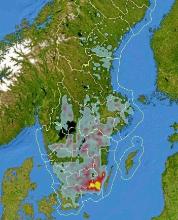 Karta över avverkningsanmälningar kopplade till angrepp av granbarkborre. Största angreppen finns i Kalmar och Blekinge, men angreppen har även spridit sig norrut till bland annat Sörmland och Västmanland i Svealand.