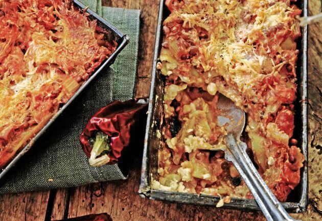 Läcker vegetarisk lasagne till veckans alla lunchlådor.