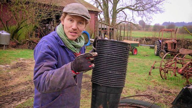 Frank Erichsen från Hundra procent bonde håller en föreläsning på Trädgårdsmässan om livet som självhushållare.