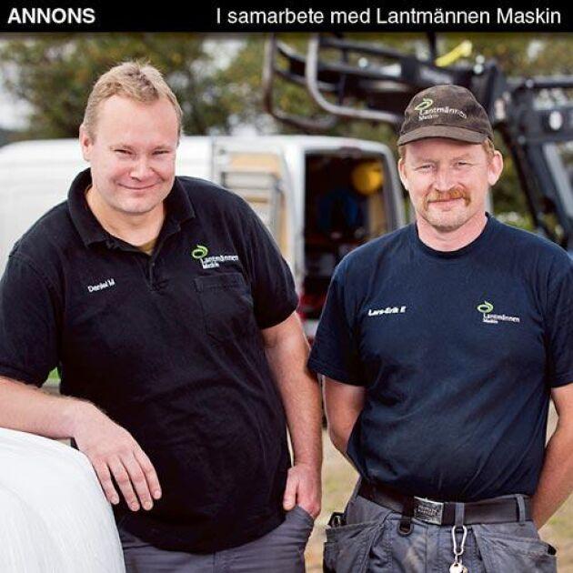 Många, både nya och gamla kunder, uppskattar att Lantmännen Maskin erbjuder service och reservdelar till alla traktormärken på marknaden säger Daniel Myreback, verkstadschef i Karlstad och Lars-Erik Eriksson, mekaniker i Torsby.
