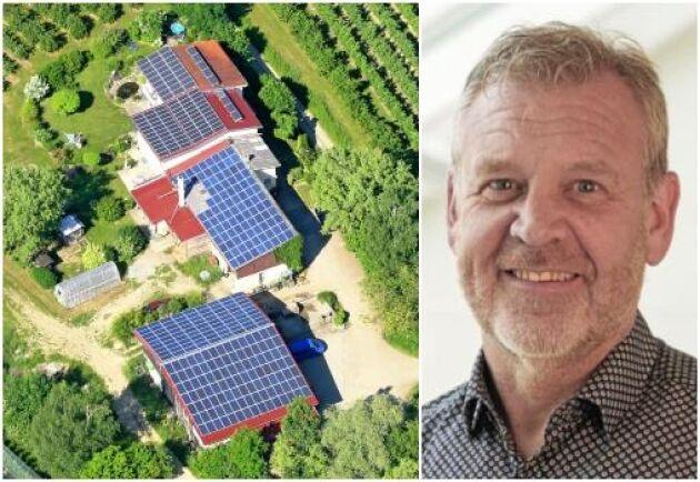Leif Mårtensson, ordförande itekniska utskottet i Lantbrukets brandskyddskommitté (LBK), rekommenderar den som vill installera solceller men känner sig osäker att ringa sitt försäkringsbolag.