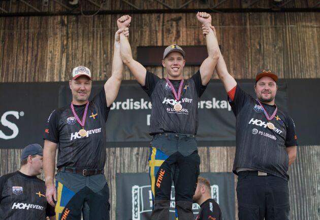 Helsvenskt på prispallen: Hans-Ove Hansson (silver), Ferry Svan (guld) och Pontus Skye (brons).