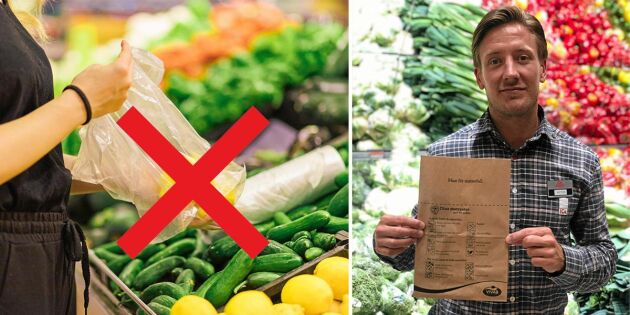 Pappåsar för frukt och grönt ska minska plasten i Ica-butiken