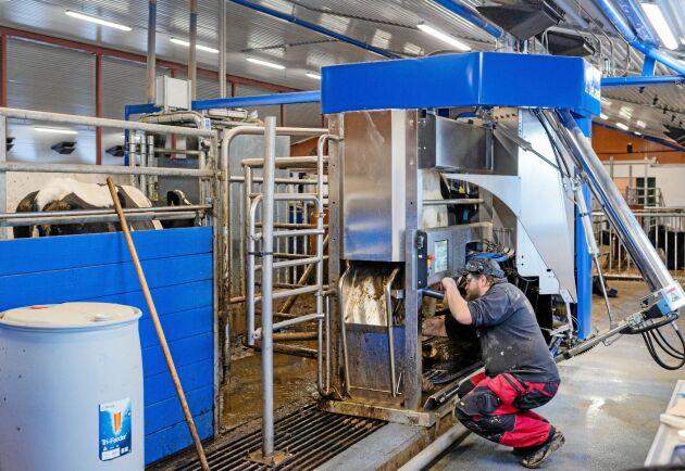 Ett stopplarm från en av mjölkrobotarna väckte Markus den natten. Vid återuppbyggnaden installerades två nya robotar.