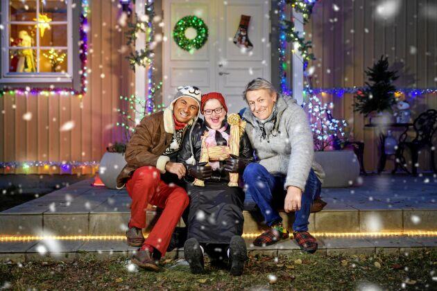 """""""Lerins jul"""" med Lars Lerin, Birgitta Corbell och Manoel """"Junior"""" Marques Lerin."""