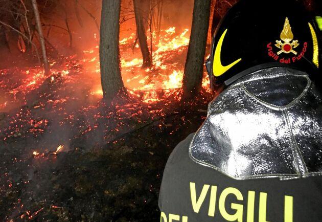 Bilden är från en annan skogsbrand i Italien. Arkivbild.