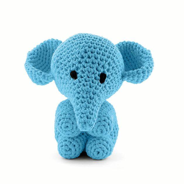 Enfärgad elefant, den här gången i turkos.
