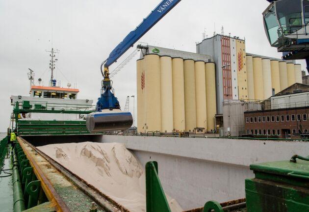 Mineralgödsel är en internationell vara. Här lossas en last i Lidköpings hamn.