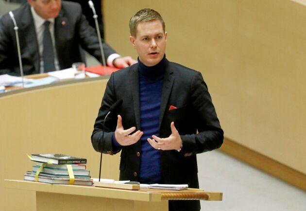 Gustav Fridolin (MP) engagerade sig också i frågan om hot och hat mot lantbrukare under partiledardebatten.