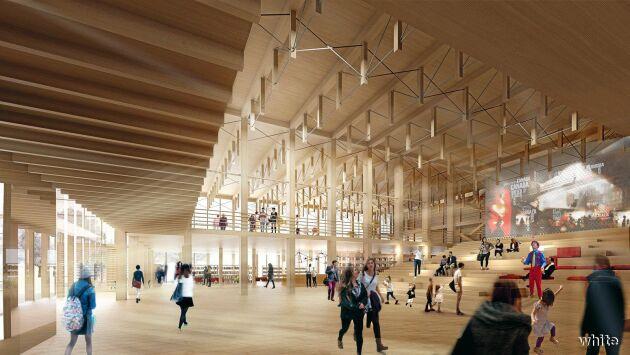 En bild av hur kulturhuset i Skellefteå, byggt i KL-trä från Martinsons, kommer att se ut