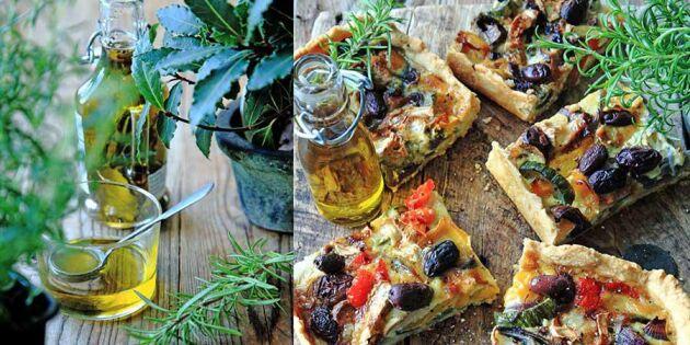 Medelhavsmat för många: Festlig paj i långpanna