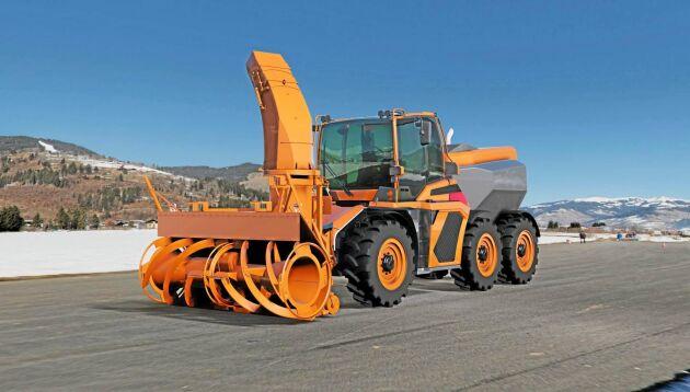 Traktorn kan byggas om till snöfräs.
