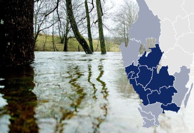 Montage. Översvämningar i Säveån i Partille. SMHI har utfärdat flera varningar i södra Sverige för regn och höga flöden.