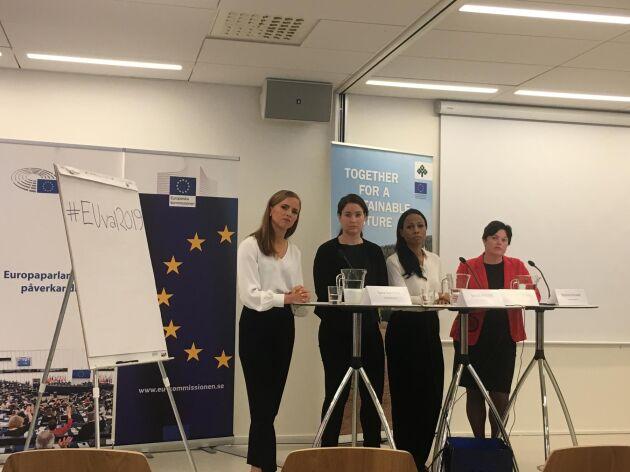 Panelen i LRF:s EU-debatt om hållbara transporter: Från höger Marlene Burwicks S, Alice Bah Kuhnke, MP, Emma Wiesner, C, Sara Skyttedal, KD.