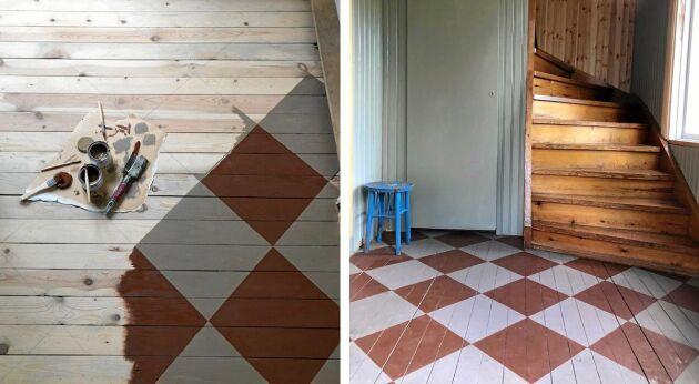 Golvet i hallen har Brita målat för hand genom att rita upp rutorna med blyerts. Sen målade hon rutorna med linoljefärg