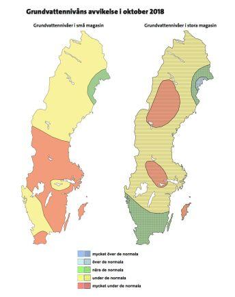 Kartorna visar grundvattensituationen i förhållande till oktober månads normalvärden. Kartan till vänster visar nivån i små magasin och den till höger nivån i stora magasin. Illustration: SGU