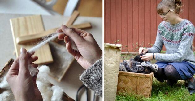 Evelina ser det som ren lyx att få jobba med ullhantverket.
