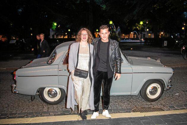 Skådespelarna Josefin Neldén och Charlie Gustafsson på premiären av Vår tid är nu på Rival i Stockholm.