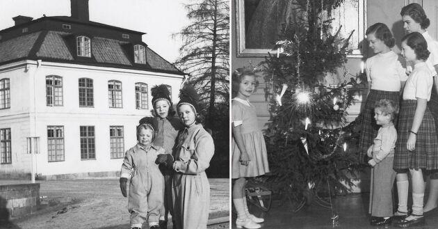 Jul på Haga slott 1940-talet Prinsessan Margareta, Desiree, Birgitta, Christina, kronprins Carl XVI Gustaf.