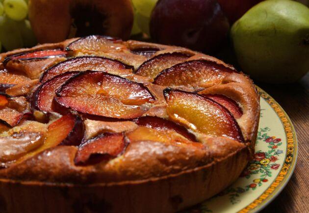 Njut av säsongens skörd i en härlig plommonkaka som du serverar med lättvispad grädde.
