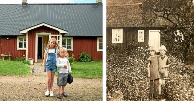 Livet som barn i backstugan är betydligt skönare för Vendeli och Atle än för Kurt och Lisa som bodde här på 1920-talet. Bilderna är tagna på samma plats med nästan 100 år emellan.