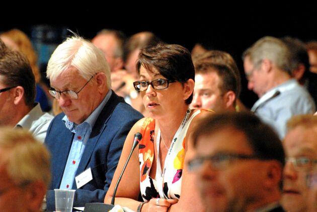 Marianne Andersson, LRF Skåne här vid en tidigare stämma, tror på Sven Norup som ordförande.