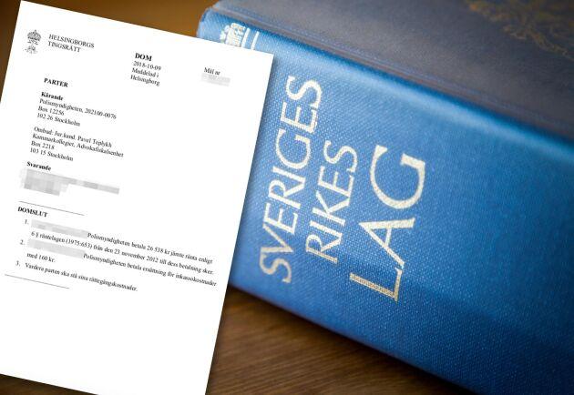 Tingsrätten sänker ersättningen till Polismyndigheten till en tiondel av det begärda beloppet.