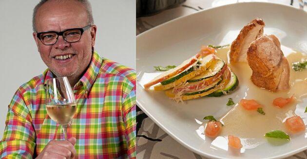 Majskyckling med smörsås serverad med en härlig gratäng på äpplen och squash, det bjuder Håkan Larsson på i helgen.