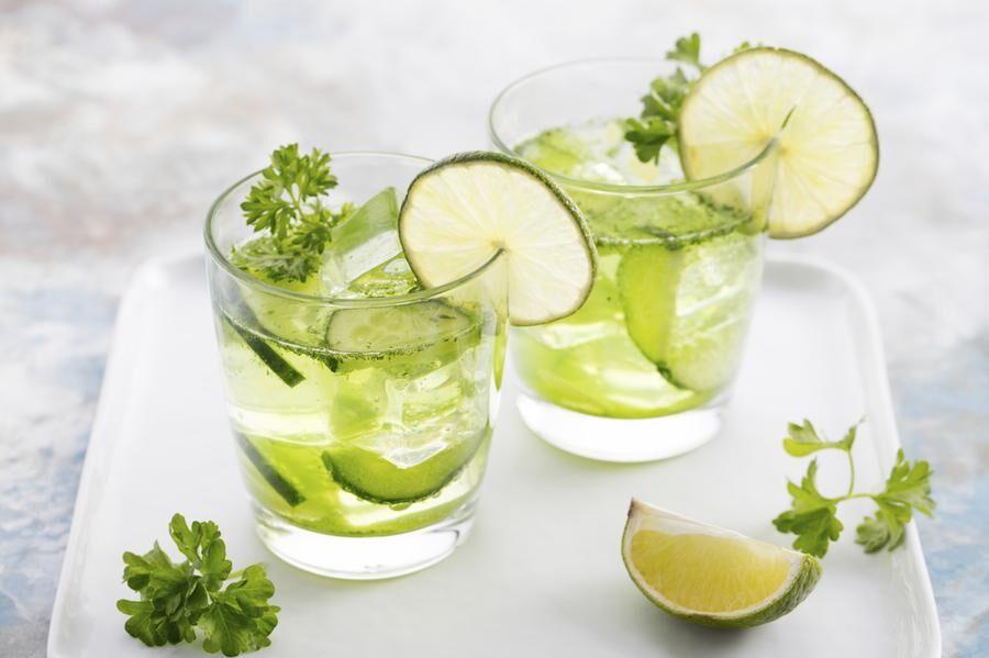 Lime, cucumber, parsley cocktail, lemonade, detox water