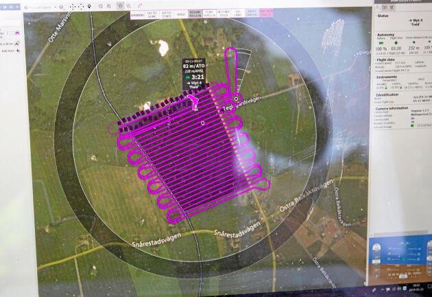 Planering. Drönarens färdväg programmeras för att hela fältet ska täckas.