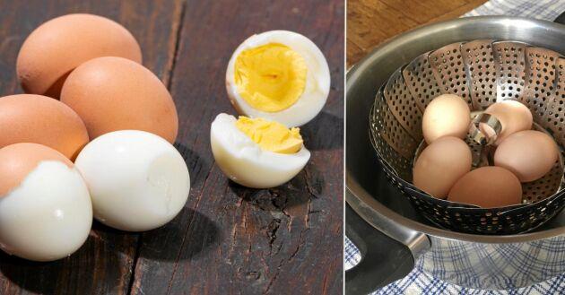 Lätta att skala och inga gröna kanter på gulan. Perfekt kokta ägg med ånga.