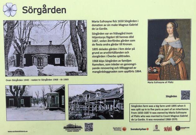 Traktens hembygdsförening har satt upp en skylt utanför Gudruns hem som en gång i tiden tillhörde en prinsessa.