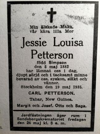 Jessie Louisa Simpson dog och begravdes i Stockholm.