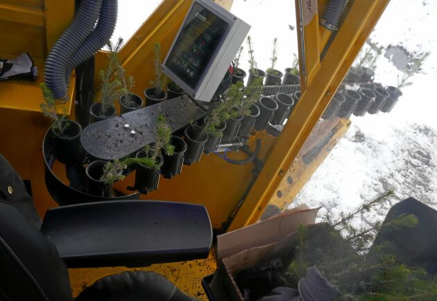 Plantoperatören fyller plantmatningen men har också kontinuerlig kommunikation med föraren om bland annat hastighet och tryck på markberedningen.