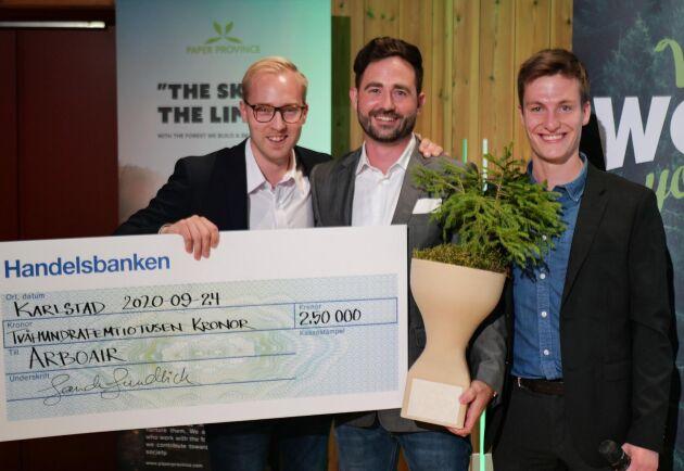 """Arboair är vinnare av innovationstävlingen """"What wood you do"""". Från vänster: Jacob Hjalmarsson, Markus Drugge och Josef Carlson."""