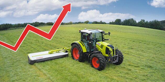 Så har traktorpriserna gått upp på fem år