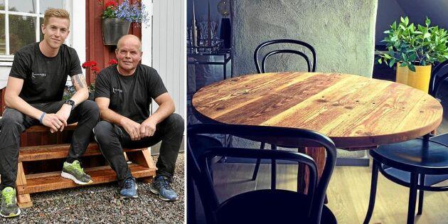 1800-tals ladan skulle rivas – nu gör far och son unika möbler av virket!