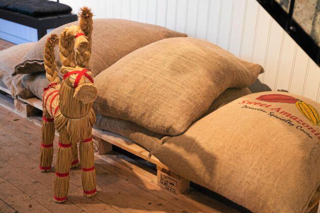 På trappen ligger säckar med kakaobönor från hela världen.